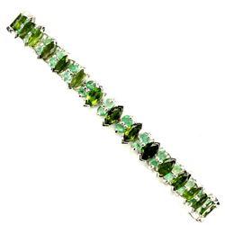 Natural Chrome Diopside & Emerald 91.41 Cts Bracelet