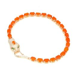 Natural  Orange Fire Ethopian Opal 6x4 MM Bracelet