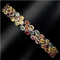 Natural Multi-color Fancy Sapphire Bracelet