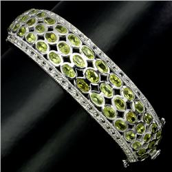 Natural Unheated Oval Green Peridot Bangle
