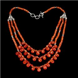Natural Rare Brazil Orange Carnelian 216 Cts  Necklace