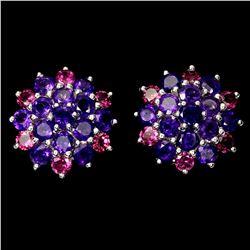 Natural Amethyst &  Rhodolite Garnet Earrings