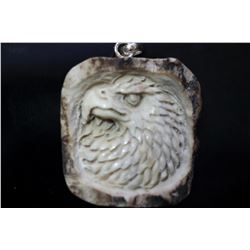 Hand Carved Antler Eagle Pendant