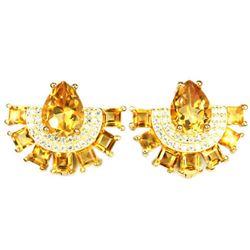 NATURAL 9X7MM ORANGISH YELLOW CITRINE Earrings