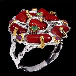 Natural Rich Red Coral Emerald Ruby 2 Tone Ring