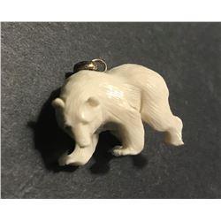 Hand Carved Antler 3D Bear Pendant