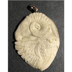 Hand Carved Antler Eagle & Goat Pendant