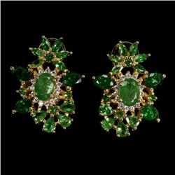 Natural Unheated Green Tsavorite Garnet Earrings