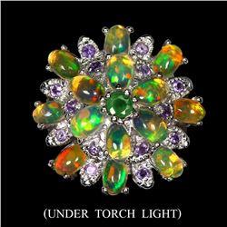 Unheated White Opal, Amethyst & Emerald Ring