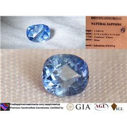 Vivid Metallic Blue Sapphire, hand cut, IGL 1.244 ct