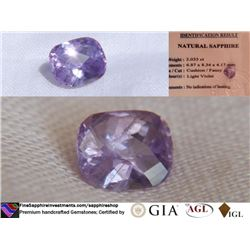 Violet Sapphire, unheated, premium cut | GIA 2.033 ct