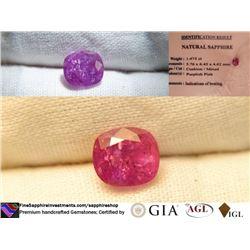 Bi-Color Hot Pink Sapphire, premium cut, GIA 1.475 ct