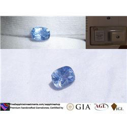Vivid Blue Sapphire no heat, handcrafted, AGL 1.71 ct