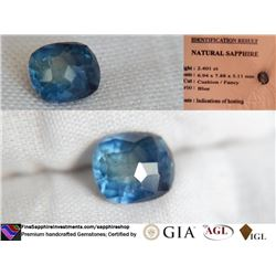 Blue Sapphire, premium handcrafted cut, IGL 2.401 ct