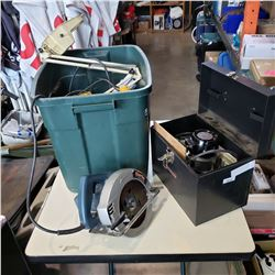 TOTE OF TOOLS W/ CRAFTSMAN ROUTER AND SHOP SUPPLIES