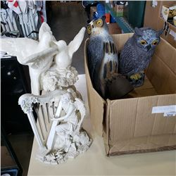BOX OF GARDEN DECOR INLCUDING 2 OWLS, DOVES, AND HARP PLAYER