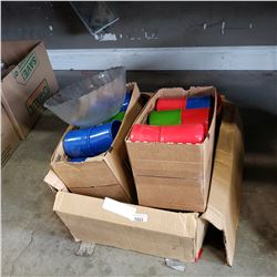 BOX OF PLASTIC CUPS, PLATES, AND BOWLS