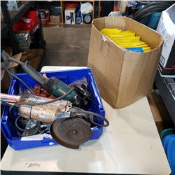 TOTE OF 2 HEAVY DUTY ANGLE GRINDERS AND BOX OF PARTS BINS