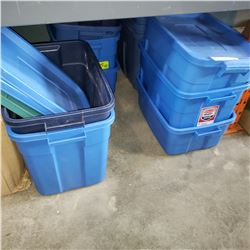 13 RUBBERMAID TOTES AND 4 LIDS