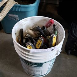 PAIL OF DRYWALL SCREWS AND TROWELS