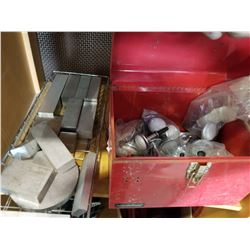 TRAY OF ALUMINUM BILLETS TOOLBOX OF FURNITURE LEGS