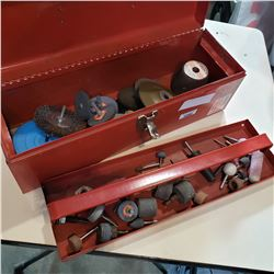 RED TOOL BOX W/ GRINDING BITS