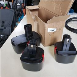 THREE 12 VOLT CORDLESS TOOL BATTERIES