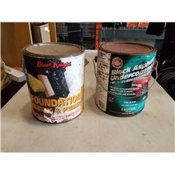 CAN OF COATING AND PRIMER W/ CAN OF BLACK RUBBER ASPHALT
