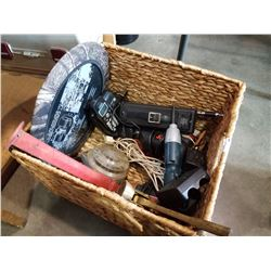 BOX OF TOOLS, ELECTRIC DRILLS, REALISTIC TRANSCEIVER