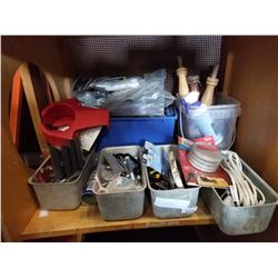 SHELF LOT OF PAINTING SUPPLIES METAL BINS W/ CONTENTS AND MORE