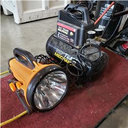 TEAM MECHANICAL 2 GALLON AIR COMPRESSOR AND 10 MILLTION CANDLE POWER SPOTLIGHT