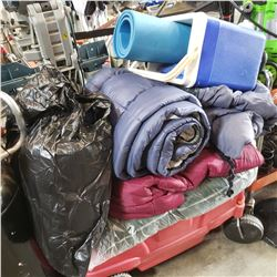 LOT OF SLEEPING BAGS, COOLER AND BLUE FOAM ROLL