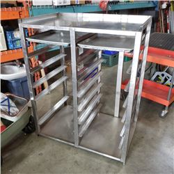 ALUMINUM COMMERCIAL BAKERS DOUBLE RACK AND 2 TRAYS