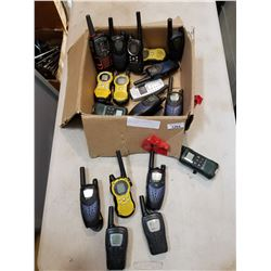 TRAY OF WALKIE TALKIES AND PARTS PHONE