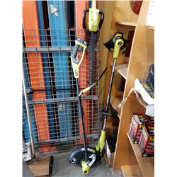 RYOBI 18V CORDLESS WEEDEATERS, HEDGE TRIMMER, AND BATTERIES - NO CHARGER