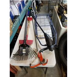 GARDEN TOOLS, ELECTRIC WEEDEATER, POLE PRUNER, AND SHOPPING CART