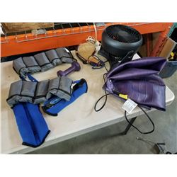 WEIGHT TRAINING CUFFS, DUMBELL, EXERCISE BALL, AND FAN