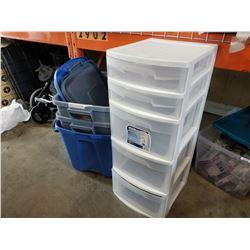 3 TOTES W/ LIDS AND 5 DRAWER ORGANIZER