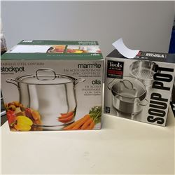 STAINLESS STOCK POT AND 4 PIECE STAINLESS POT AND STEAMER SET