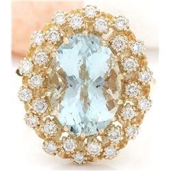 6.40 CTW Natural Aquamarine 14K Solid Yellow Gold Diamond Ring