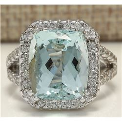 9.50 CTW Natural Aquamarine And Diamond Ring In 18K Solid White Gold