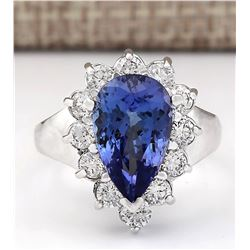 4.92 CTW Natural Blue Tanzanite And Diamond Ring 18K Solid White Gold