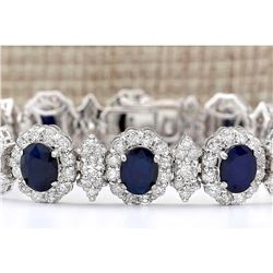 29.45 CTW Natural Sapphire And Diamond Bracelet In 14k Solid White Gold