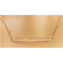 0.30 CTW Diamond 18K Rose Gold Bar Necklace