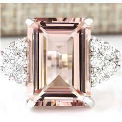 7.25 CTW Natural Morganite And Diamond Ring 18K Solid White Gold