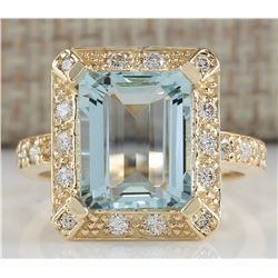 4.85 CTW Natural Aquamarine And Diamond Ring In 18K Yellow Gold