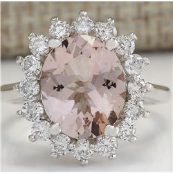 4.72 CTW Natural Peach Morganite And Diamond Ring In 18K Solid White Gold