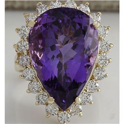 17.67 CTW Natural Amethyst And Diamond Ring In 18K Solid Yellow Gold