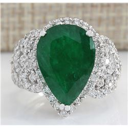 8.20 CTW Natural Emerald And Diamond Ring In 18K White Gold