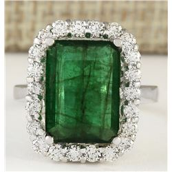 5.95 CTW Natural Emerald And Diamond Ring In 18K Solid White Gold
